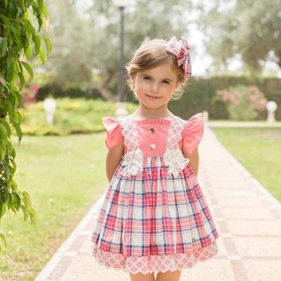 Coral plaid dress with bow Dolce Petit 27/2234 / V