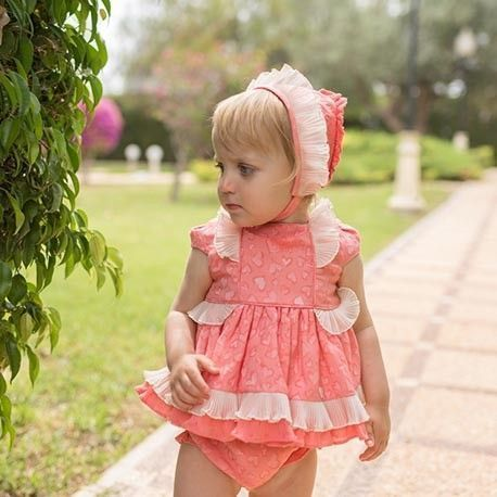 Coral baby dress with panties without hood DOLCE PETIT