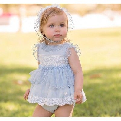 Baby dress and panties with floral lace DOLCE PETIT