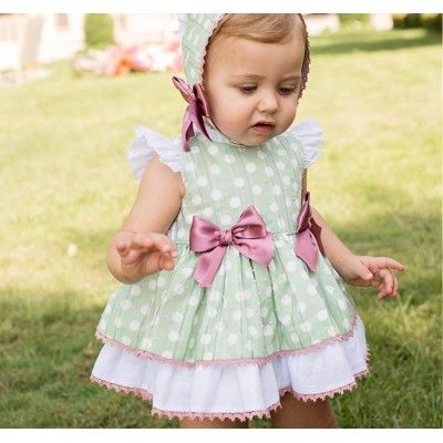 Green baby dress with polka dots with hoodless bottom Dolce Petit