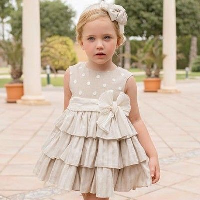 Dots beige children's dress with flared skirt DOLCE PETIT