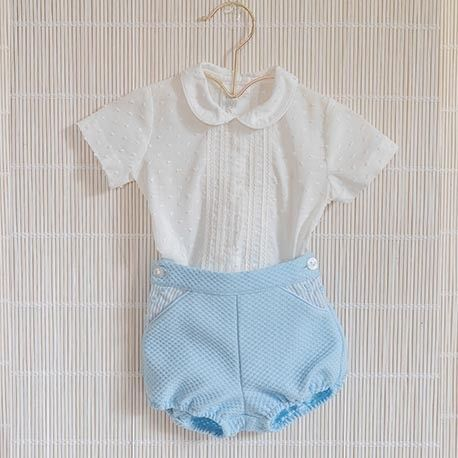 Baby boy blue shirt and pants set DOLCE PETIT