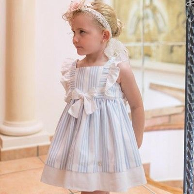 Children's blue striped dress with white bow DOLCE PETIT