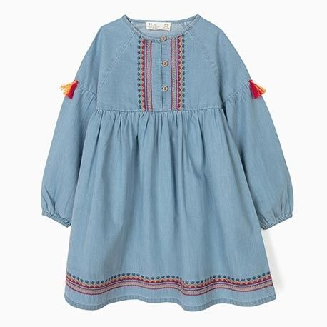 Girls' denim dress with embroidery and tassels