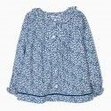 Blue flower girl blouse with flare