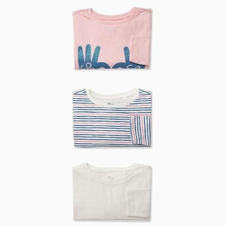 "PACK of 3 long-sleeved shirts for girls ""SPREAD SOME LOVE"""