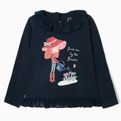 Dark Navy Ruffle Long Sleeve T-Shirt