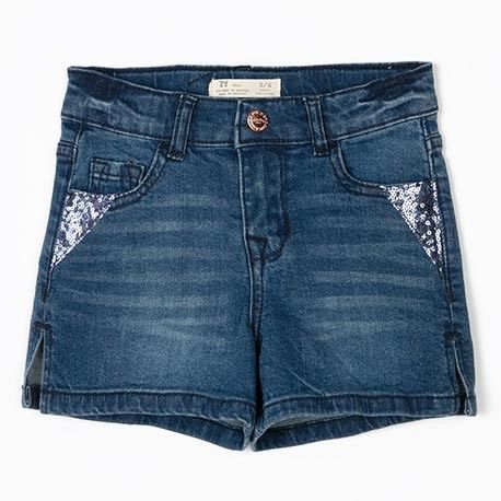 Girl's Denim Short 2 in blue with sequins