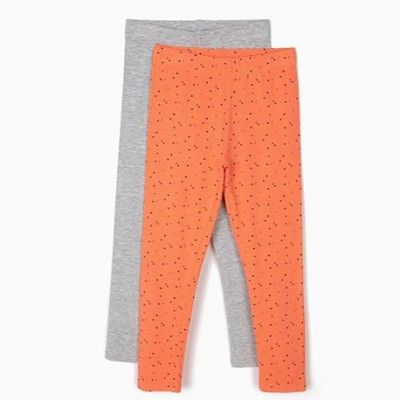 Pack 2 Leggings para niña en color naranja y gris
