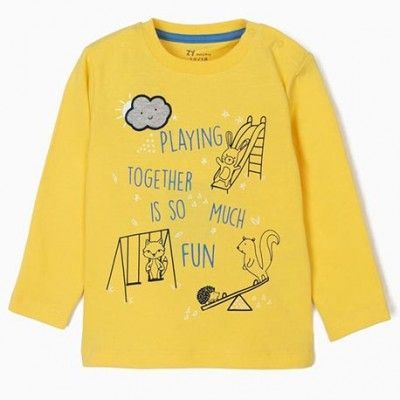 "Baby boy's long-sleeved top ""Playing"" yellow"