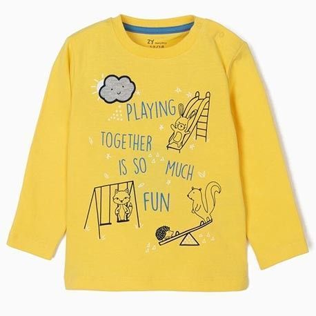 """Baby boy's long-sleeved top """"Playing"""" yellow"""