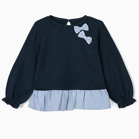 Baby girls blue long sleeve shirt with ruffles and ties
