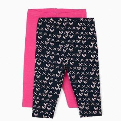 Pack of 2 leggings for baby girl in blue and pink cotton