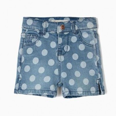 Blue denim shorts for baby girl with polka dots and print