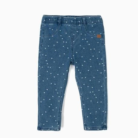 Blue baby girl leggings with stars print