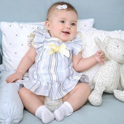 Baby dress with striped panties and bow Miranda Textil