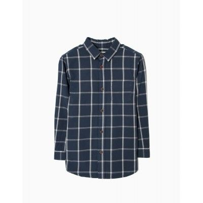 Zippy dark navy checkered boy long sleeve shirt