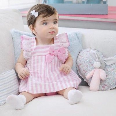 Pink striped baby dress with Miranda Textil panties