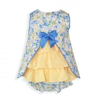 Blue baby dress with floral print and panties Miranda Textil