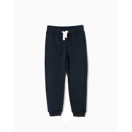 Children's basic tracksuit trousers in navy blue ZIPPY