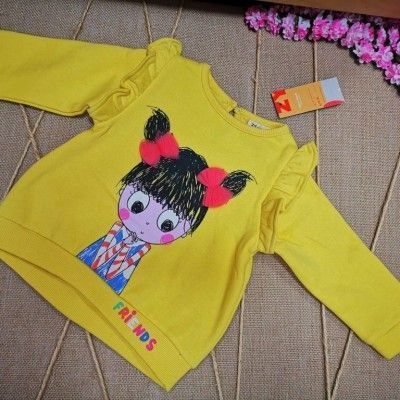 Zippy yellow sweatshirt / t-shirt with two pink bows