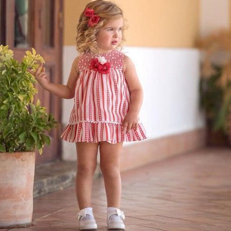 Baby white and red striped dress with flared Miranda Textil 27/0138/ V