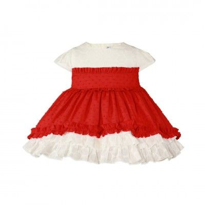 Red baby dress with flared skirt Miranda Textil 27/0139 / V