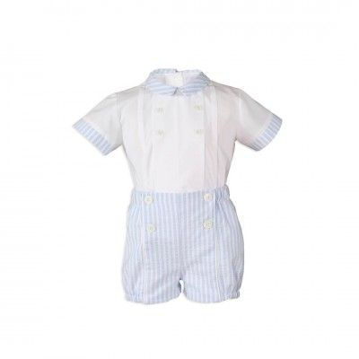 Light blue baby boy set with stripes Miranda Textil
