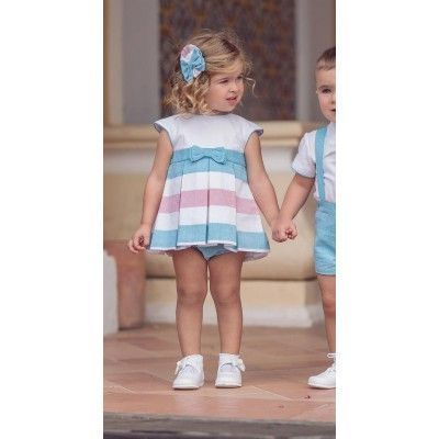 Turquoise baby dress with Miranda Textil panties