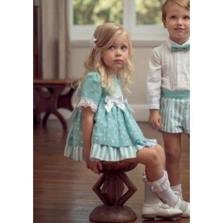Blue baby dress with panties and large bow Miranda Textil