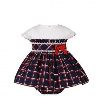 Navy check baby dress with Miranda Textil panties