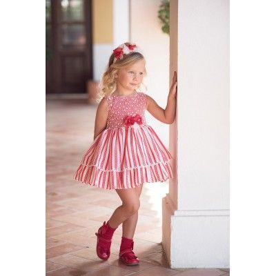 Red children's dress with flared skirt and red bow Miranda Textil