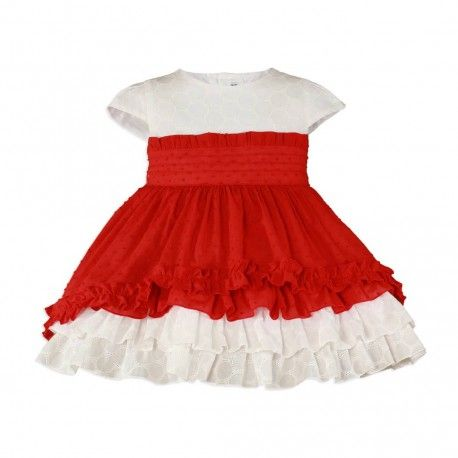 Red children's dress with large red bow by Miranda Textil