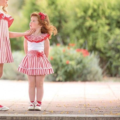 Children's outfit red t-shirt and striped skirt Miranda Textil