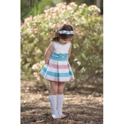 Turquoise children's dress with bow Miranda Textil