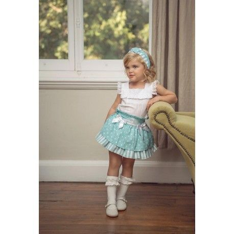 Green-blue children's outfit Miranda Textil shirt and skirt