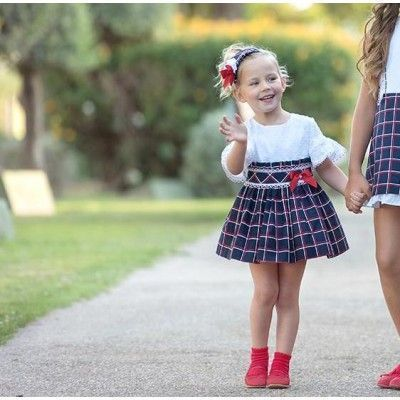 Navy blue children's dress with Miranda Textil checks