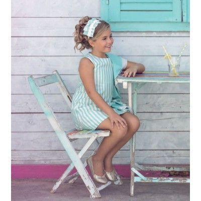 Miranda Textil striped aqua green children's dress