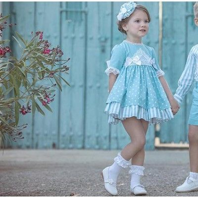 Greenish blue children's dress with moles Miranda Textil