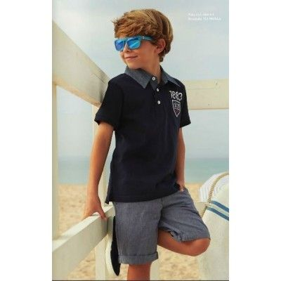 Boy's navy blue LOSAN polo shirt with gray collar