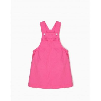 Baby girls' pink bib overalls skirt with suspenders zippy