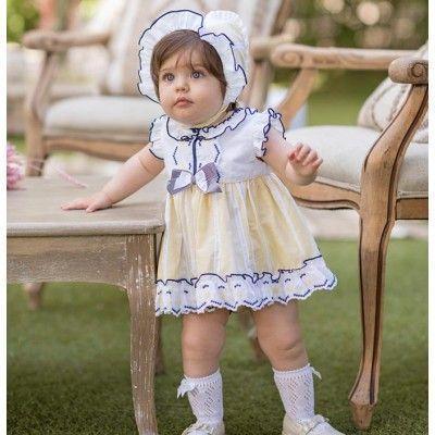 Yellow baby dress with panties without hood Dolce Petit