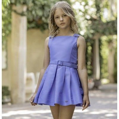 Children's blue France dress with a Dolce Petit plank skirt