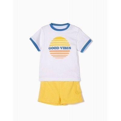 T-SHIRT AND SHORT FOR BABY BOY 'GOOD VIBES', WHITE AND YELLOW