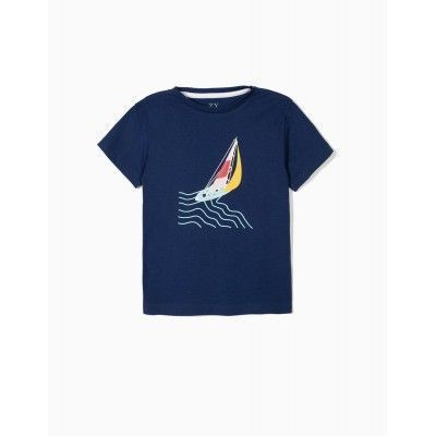 CHILDREN'S T-SHIRT 'ZY BOAT', DARK BLUE