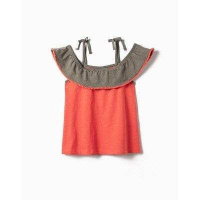 GIRL BLOUSE WITH FRILLS AND POMPOMS, CORAL AND GREEN