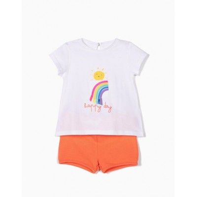 Set baby girl happy day orange t-shirt and pants