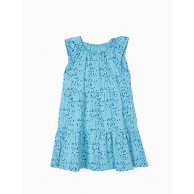 Blue children's dress with print and flight