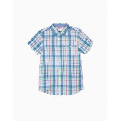 Boys' short-sleeved plaid shirt