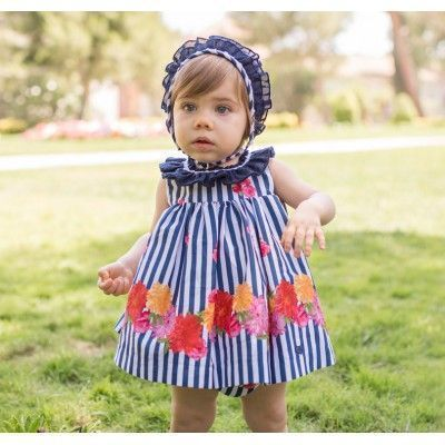 Baby dress with panty and floral hood in navy Dolce Petit
